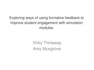 Vicky Thirlaway Amy Musgrove