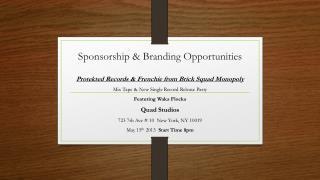 Sponsorship & Branding Opportunities