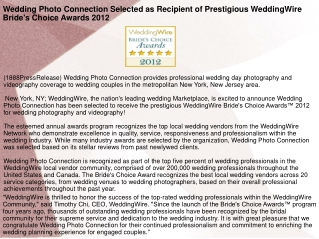 Wedding Photo Connection Selected as Recipient of Prestigiou