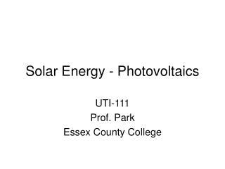 Solar Energy - Photovoltaics