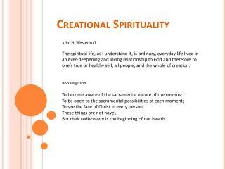 Creational Spirituality