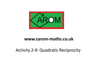 Activity 2-9:  Quadratic Reciprocity