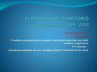 ECONOMIA DEL TERRITORIO anno  a ccademico  2009 - 2010