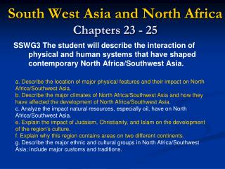 South West Asia and North Africa Chapters 23 - 25