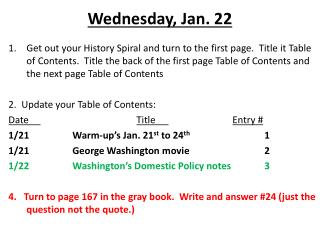 Wednesday, Jan. 22