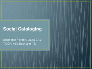 Social Cataloging