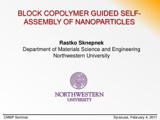 BLOCK COPOLYMER GUIDED SELF-ASSEMBLY OF NANOPARTICLES