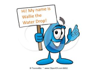 Hi! My name is  Wallie  the Water Drop!