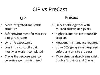 CIP  vs PreCast