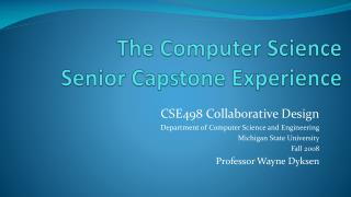 The Computer Science Senior Capstone Experience
