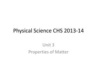 Physical Science CHS 2013-14