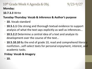 10 th  Grade Week  4  Agenda & Obj. 9/23-9/27