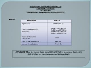 INSTRUCTIVO DE INSCRIPCIÓN PARA LOS CURSOS DE EXTENSIÓN I NSCRIPCIÓN.