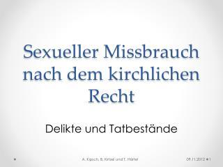Sexueller Missbrauch nach dem kirchlichen Recht