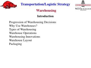 Progression of Warehousing Decisions Why Use Warehouses? Types of Warehousing Warehouse Operations