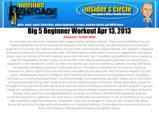 Big  5 Beginner Workout Apr 13,  2013