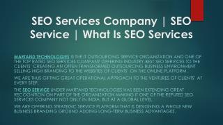 SEO Service | SEO Services Company | Martand Technologies