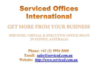 Serviced, Virtual & Executive Office Space in Sydney