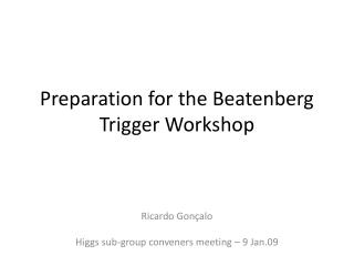 Preparation for the Beatenberg Trigger Workshop