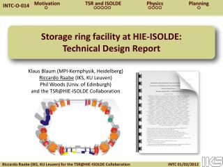 Storage ring facility at HIE-ISOLDE: Technical Design Report