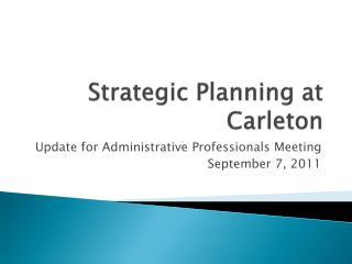 Strategic Planning at Carleton