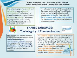 SHARED LANGUAGE:   The Integrity of Communication
