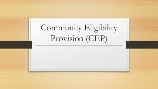 Community Eligibility Provision (CEP)