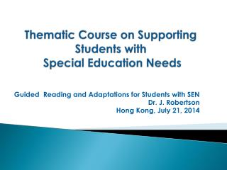 Thematic Course on Supporting Students with  Special Education Needs