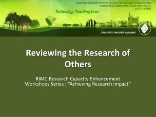Reviewing the Research of Others