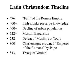 Latin Christendom Timeline