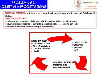 OBIETTIVO PRIMARIO: migliorare la prognosi dei pazienti con sepsi grave nel Policlinico di Modena