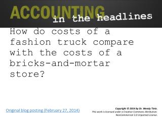 How do costs of a fashion truck compare with the costs of a bricks-and-mortar store?