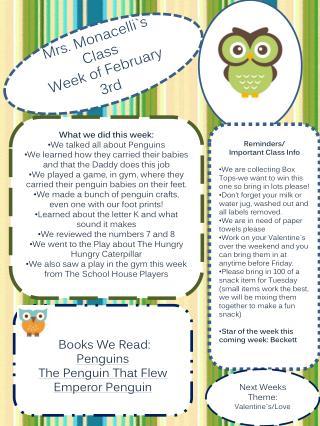 Mrs. Monacelli`s Class Week of  February   3rd
