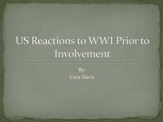 US Reactions to WWI Prior to Involvement