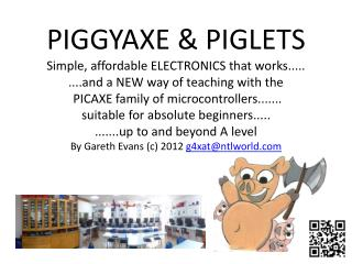PIGGYAXE &  PIGLETS Simple,  affordable  ELECTRONICS that works.....