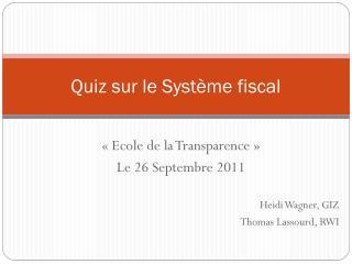 Quiz sur le Système fiscal