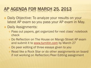 AP Agenda for march 25, 2013