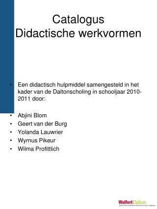 Catalogus Didactische werkvormen