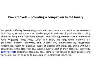 Paws for vets - providing a companion to the lonely