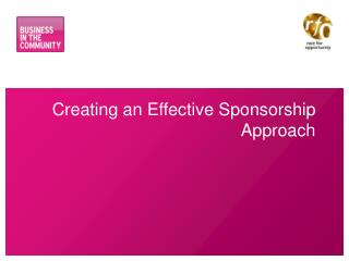 Creating an Effective Sponsorship Approach