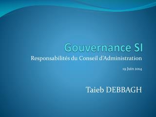 Gouvernance SI