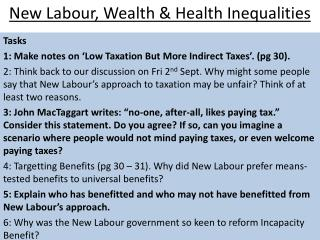 New Labour, Wealth & Health Inequalities