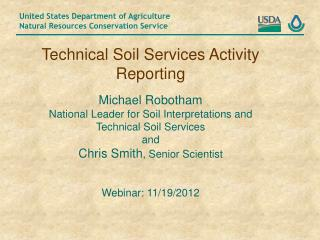 Technical Soil Services Activity Reporting Michael Robotham