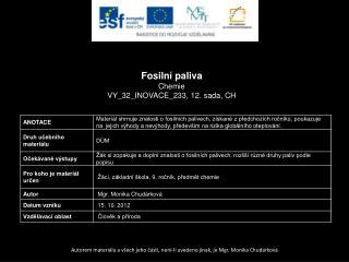 Fosilní paliva Chemie VY_32_INOVACE_233, 12.  sada,  CH