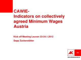 CAWIE- Indicators on collectively agreed Minimum Wages Austria