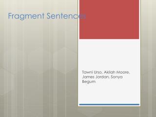 Fragment Sentences