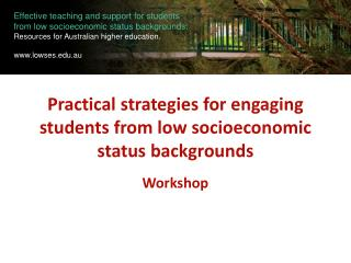 Practical strategies for engaging students from low socioeconomic status backgrounds