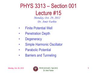 PHYS  3313  – Section 001 Lecture  #15