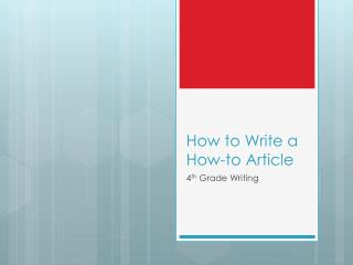 How to Write a How-to Article