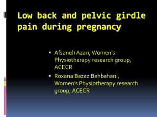 Low back and pelvic girdle pain during pregnancy